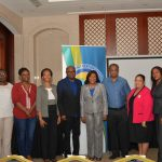 Minister of Tourism, Hon Edmund Bartlett (5th left) is flanked by members of the judiciary at a workshop hosted by the Tourism Product development Company (TPDCo) to sensitize Parish Judges on how they can assist in helping to ensure the safety and security of visitors. Minister Bartlett was the keynote speaker at the opening of the workshop at the Montego Bay Convention Centre on Saturday, January 13, 2018. From left are: Corporate Area Parish Court Judge Chester Crooks; from the Westmoreland Parish Court Judge, Icolyn Reid; St James Parish Court, Natalie Creary Dixon; Senior Puisne Judge, Carol Lawrence Beswick; Chief Justice, Hon. Zaila McCalla; High Court Judge, Justice Glen Brown; Senior Parish Judge for St James, Sandria Wong-Small; St Mary Parish Court Judge, Tricia Hudson and Trelawny Parish Court Judge, Stanley Clarke.