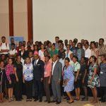 Minister of Tourism, Hon Edmund Bartlett along with the Montego Bay interns pause for a group photo. He is joined by (front row, from left to right) Ruth Harris, Executive Training Manager, TPDCo, Megan Mollison, TPDCo Montego Bay based Training Manager, Dr. Dawn Lemonius, Training and Development Manager, Royalton Blue Waters and White Sands, Dr. Carey Wallace, Executive Director Tourism Enhancement Fund, Montego Bay interns, Dr. Andrew Spencer, Executive Director, TPDCo and Marline Stephenson Dalley, Community Awareness Coordinator, TPDCo.