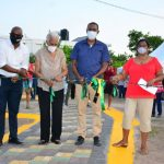 Dr. Nigel Clarke (3rd left) is joined by (left to right) Julian Patrick – Director of Product Development and Community Tourism at the Tourism Product Development Company Limited (TPDCo) and community members Violet Thompson and Doreen Sirjue at the ribbon cutting for the opening of the recreational park in the Roehampton community in St. Andrew. The project was funded by TPDCo as part of the Spruce Up programme which was first implemented in 2007 by the Ministry of Tourism to ensure that resort areas are kept in pristine condition.